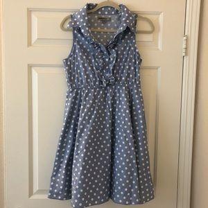BAILY BLUE retro style polka dots & ruffled dress